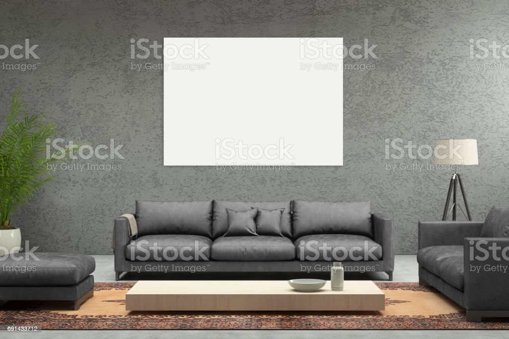 Minimalist modern interior living room with sofa and picture frame stock photo