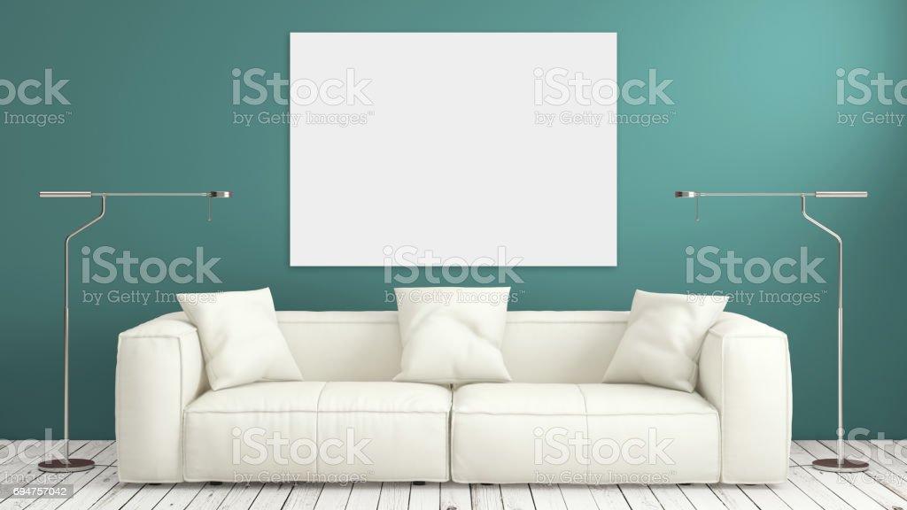 Minimalist modern interior living room with sofa stock photo