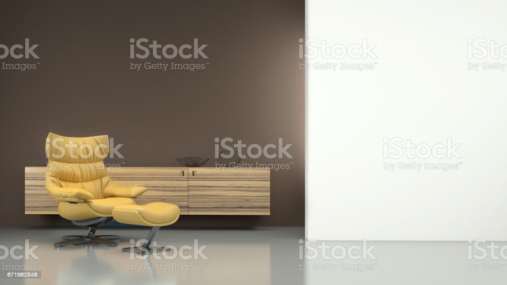 Minimalist modern interior with yellow armchair stock photo