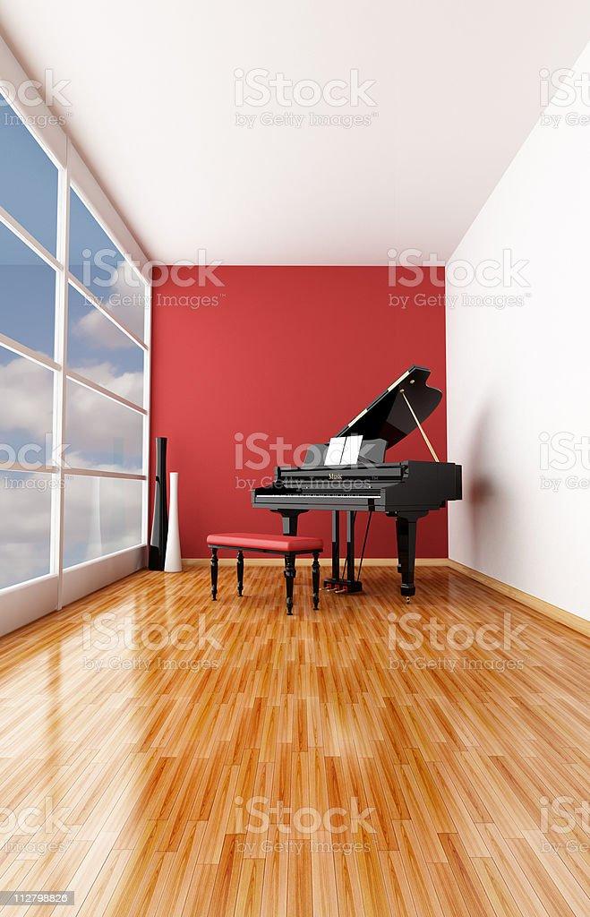 minimalist music room stock photo