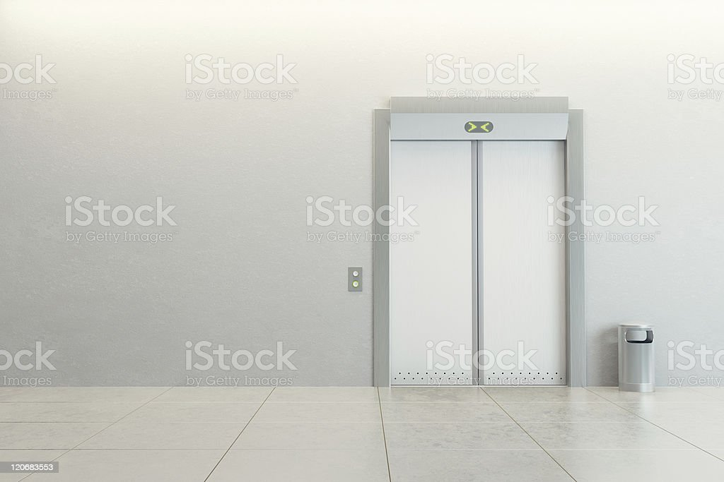Minimalist photo of elevator in white wall stock photo