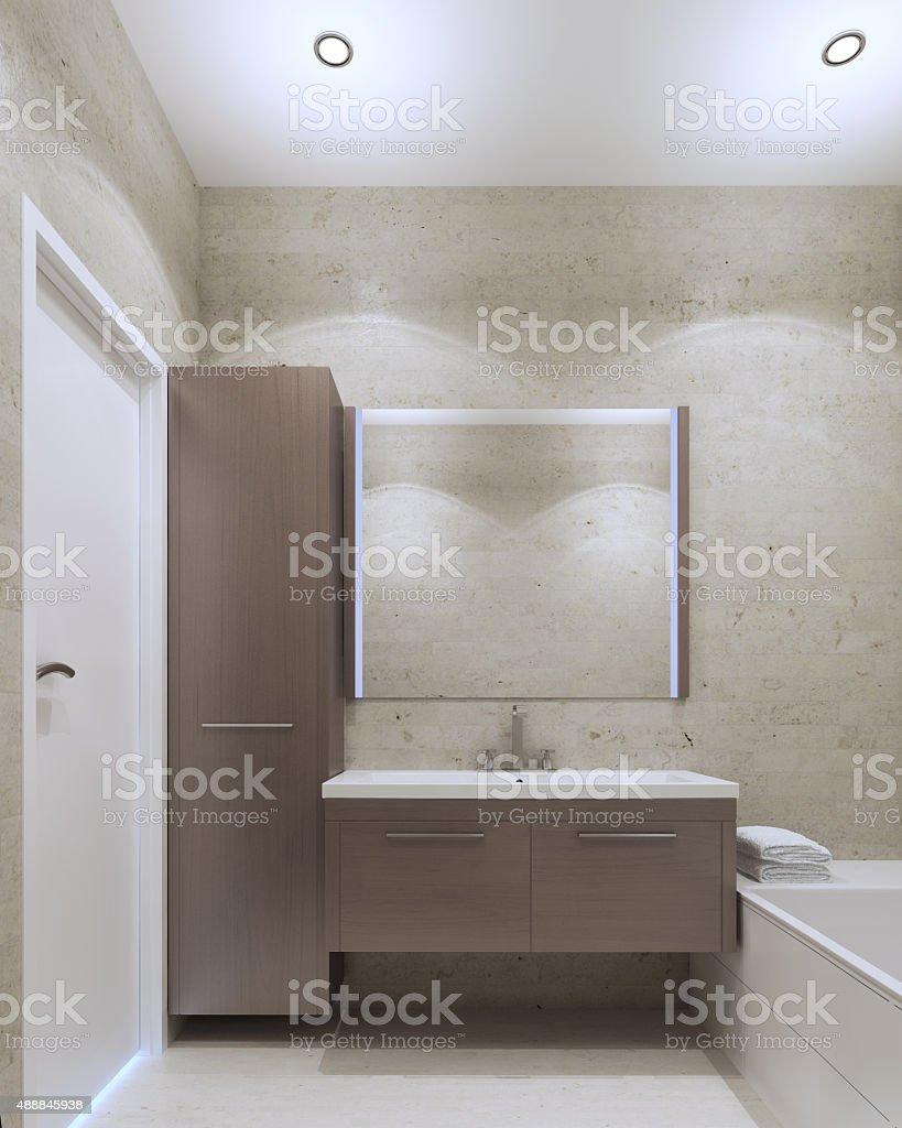 Minimalist private bathroom interior stock photo