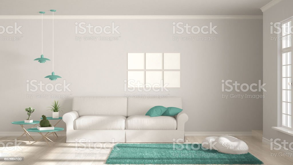 Minimalist room, simple white and turquoise living with big window, scandinavian classic interior design stock photo