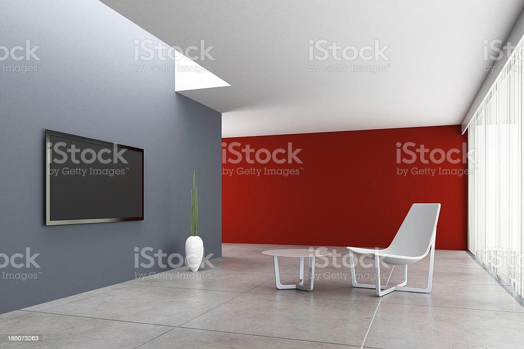 Minimalist TV Room stock photo