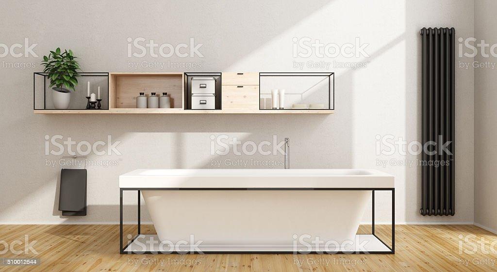 Minimalist white bathroom stock photo
