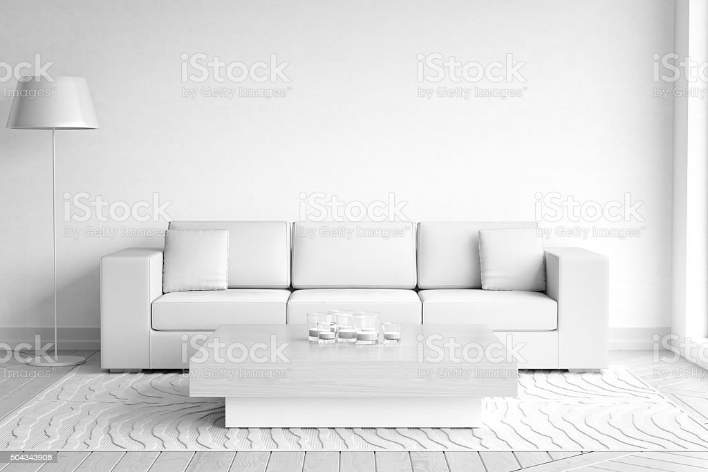 Minimalist White Living Room Interior stock photo