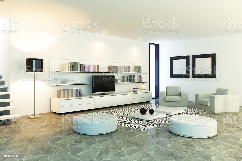 Minimalist White Living room royalty-free stock photo