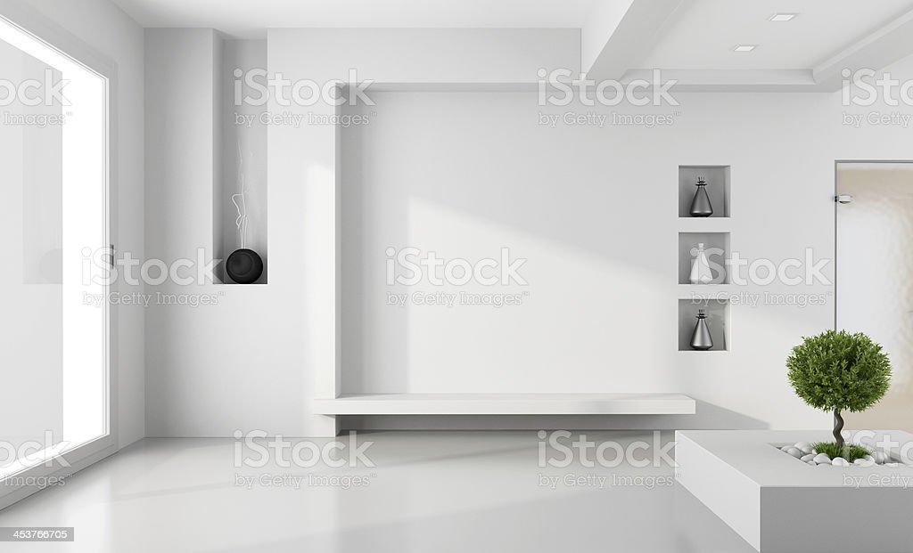 Minimalist white room stock photo