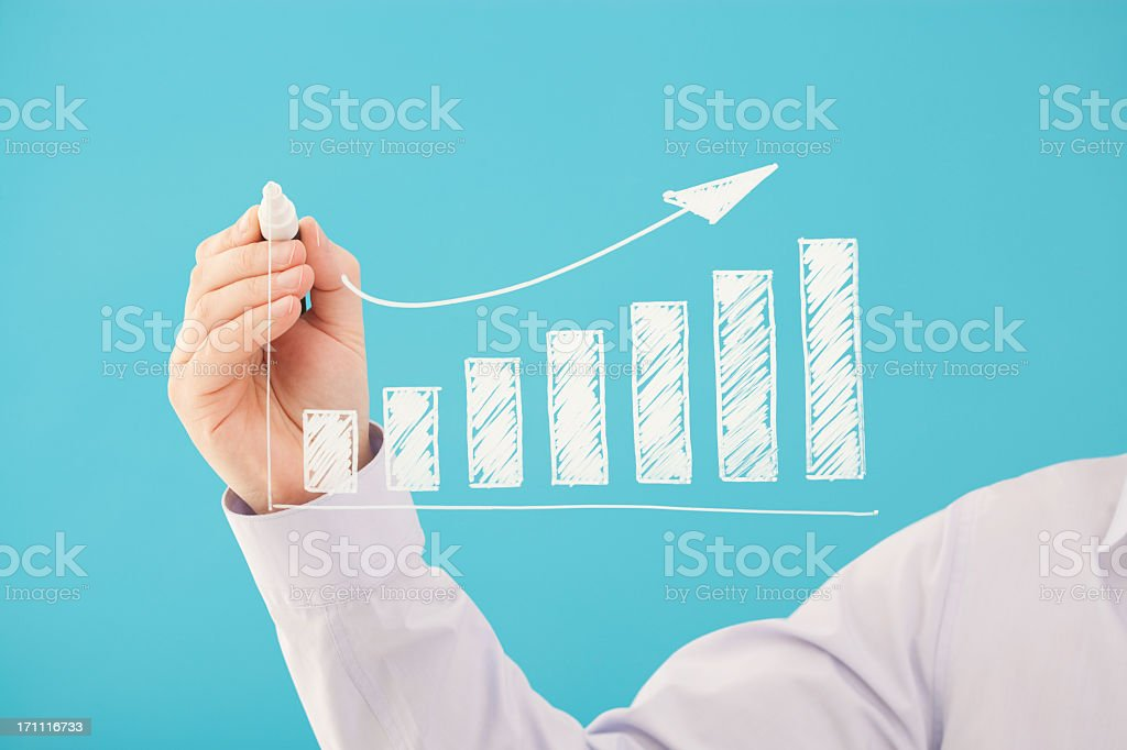 Minimalistic and hand-drawn bar chart of business growth royalty-free stock photo