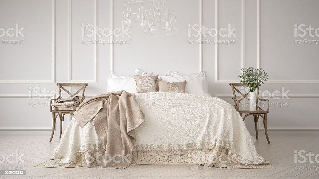 Minimalistic classic bedroom, white interior design stock photo