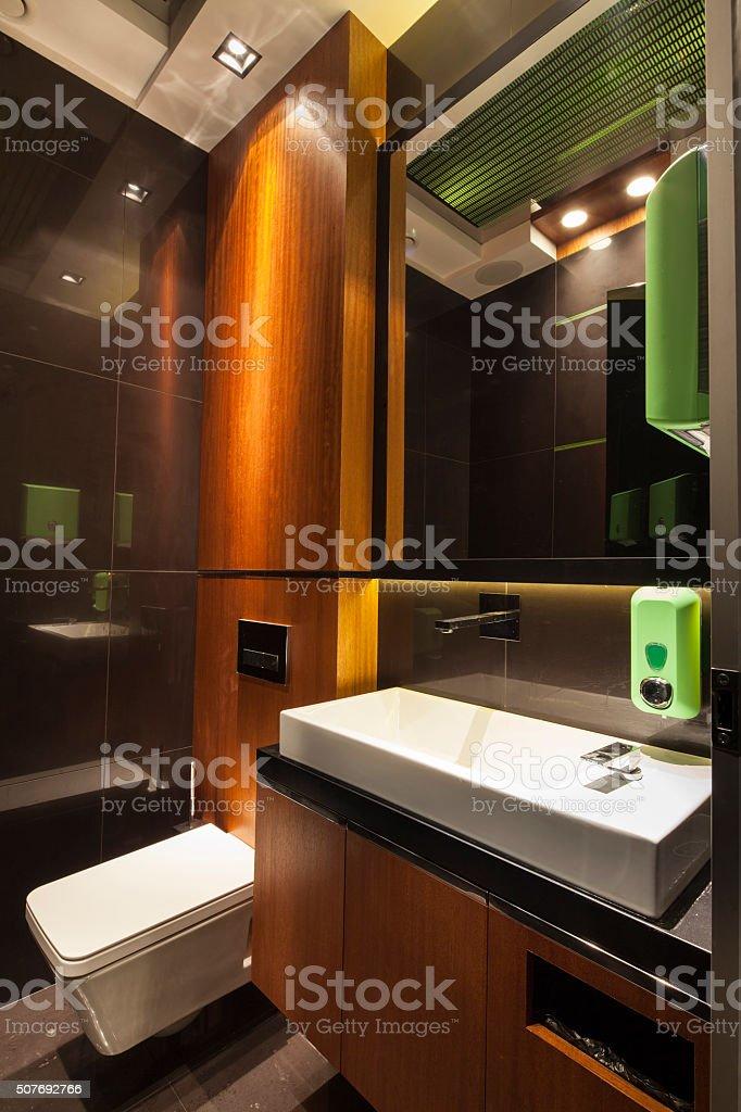 Minimalistic modern design style of a bathroom stock photo