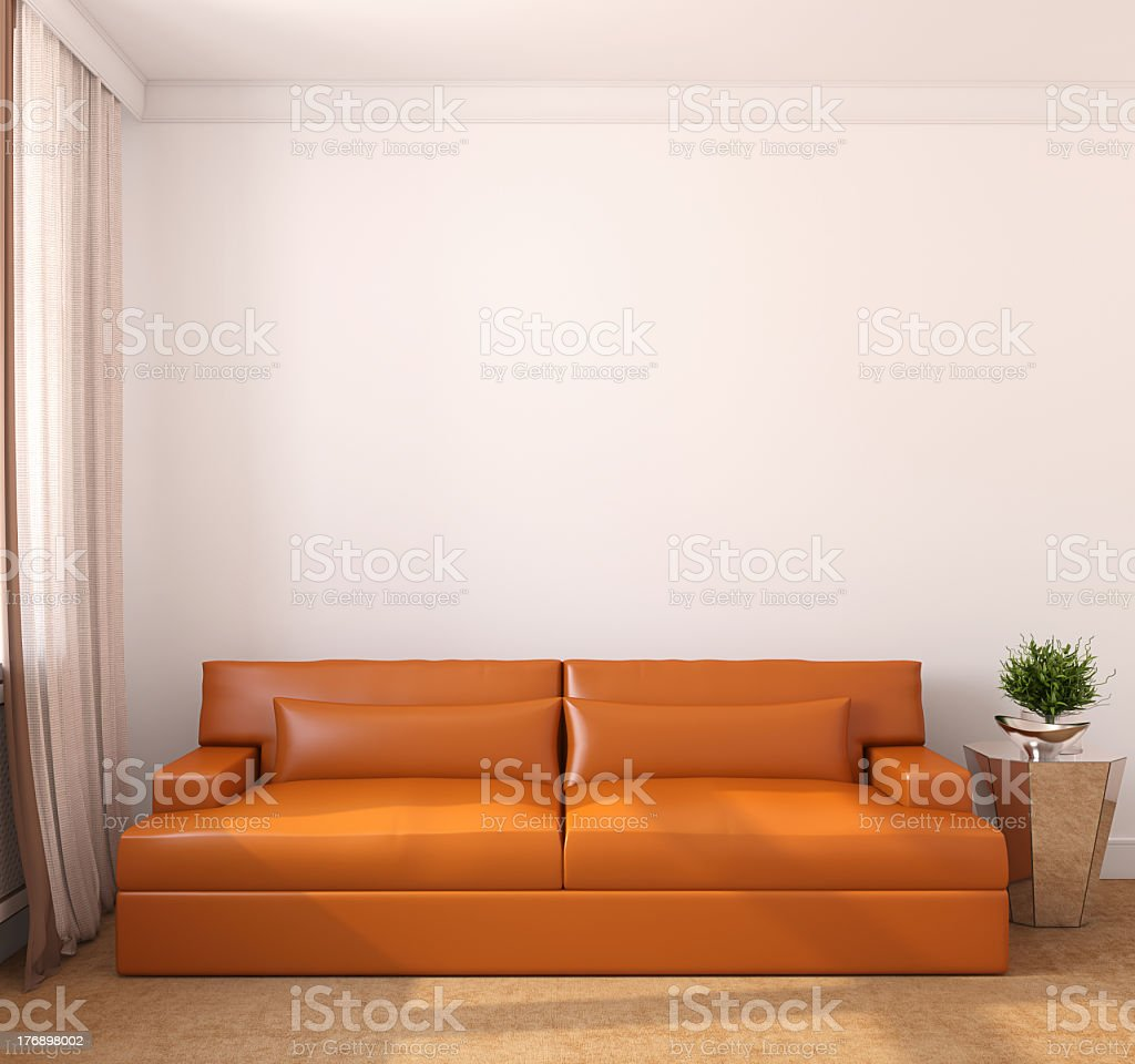 Minimalistic modern living room featuring an orange couch royalty-free stock photo