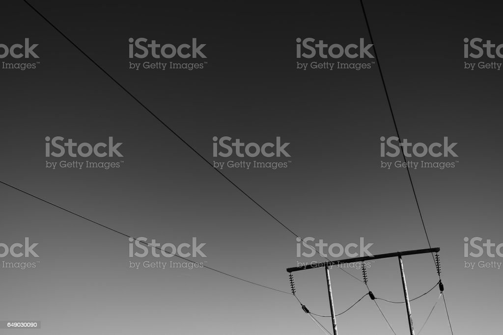Minimalistic power line background stock photo