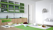 Minimalistic white kitchen with wooden and green details, vegeta