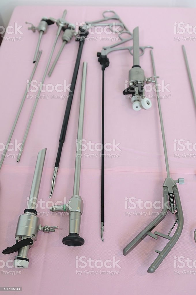 Minimally invasive surgery equipments stock photo