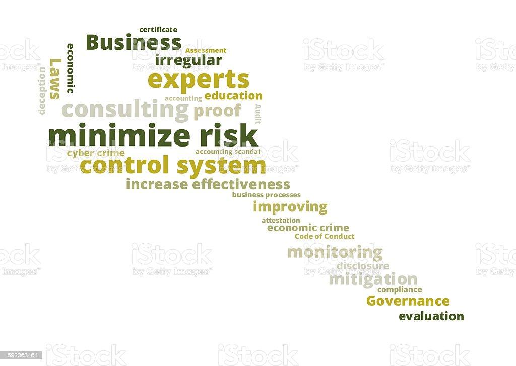 minimize risk word cloud stock photo