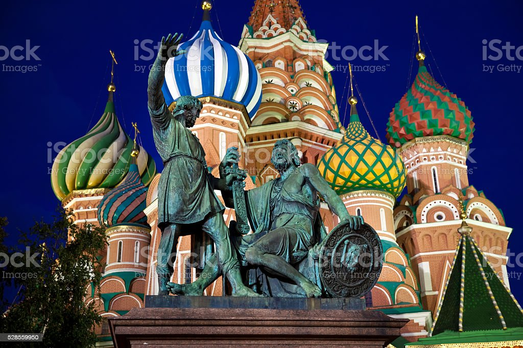 Minin and Pozharsky monument at night stock photo