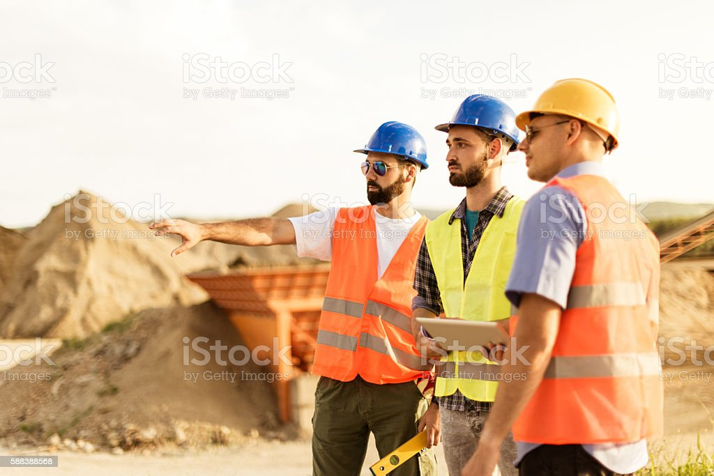 Mining business with iron ore stock photo