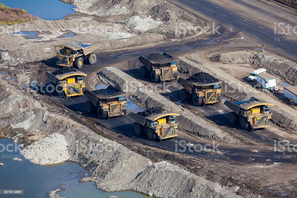 Mining Dump Trucks, Aerial Photo stock photo