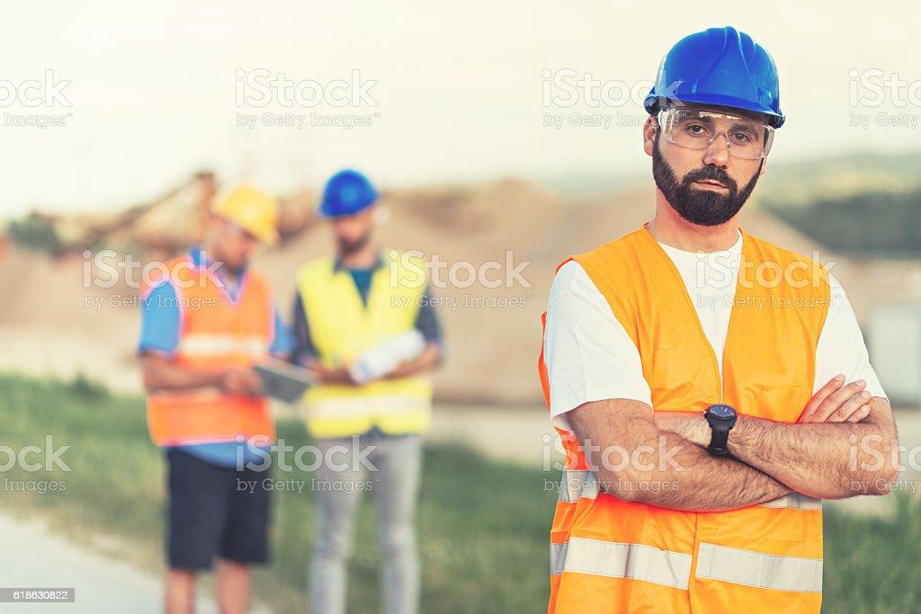 Mining engineers near mining pit stock photo