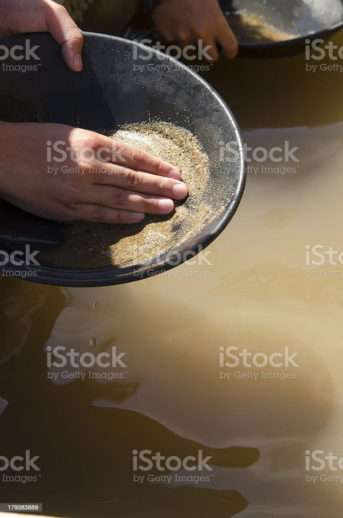 Mining for gold. stock photo