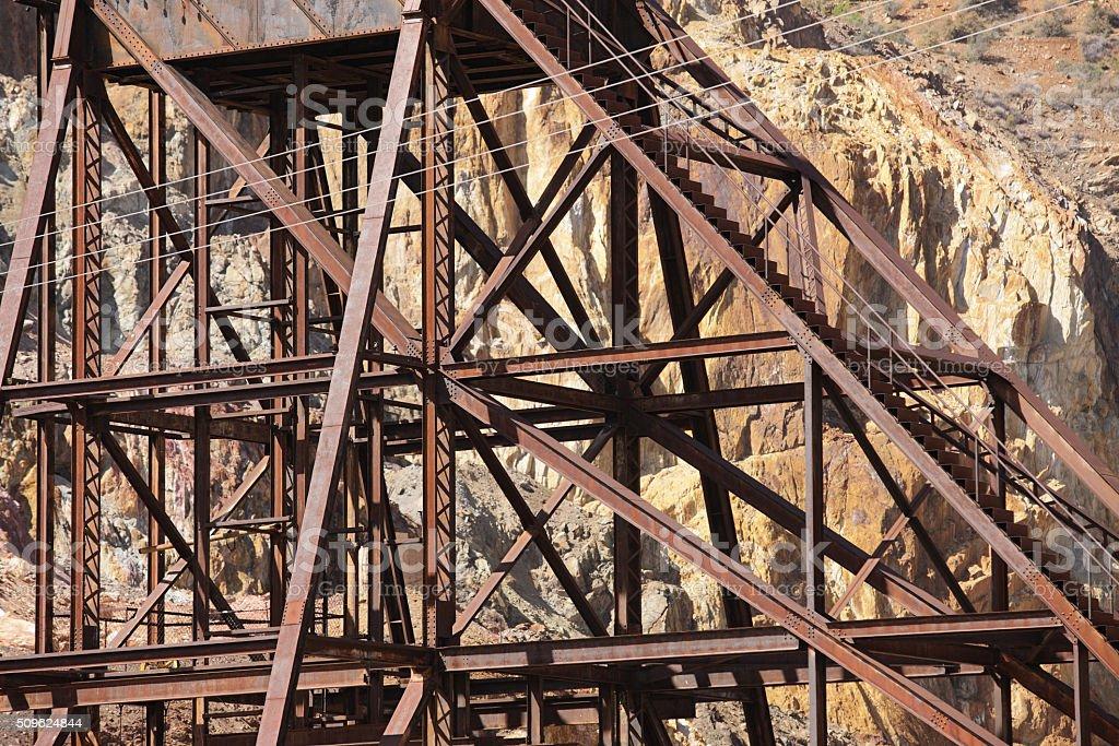 Mining Headframe Rusted Mine Shaft Tower stock photo