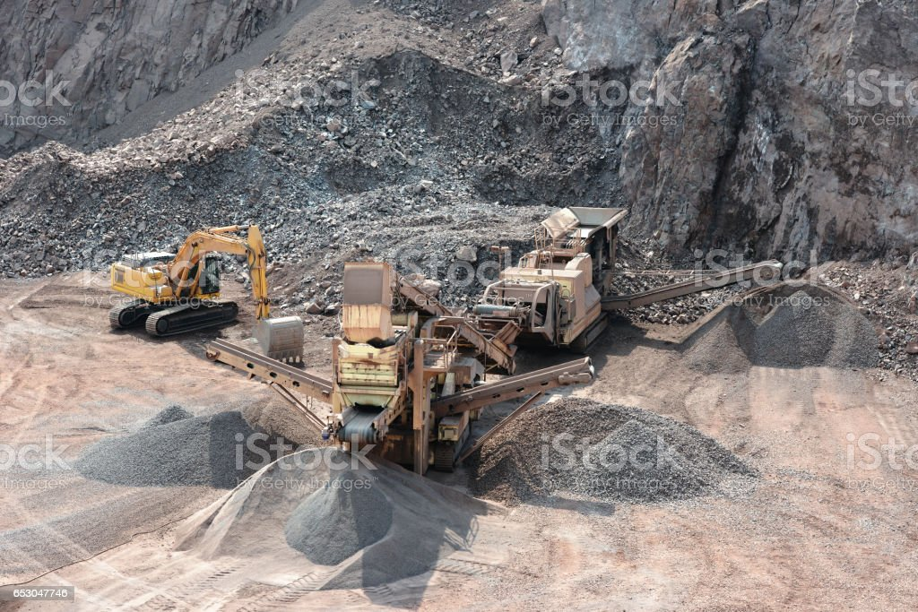 Mining industry. Stonecrusher machine. Aerial view stock photo