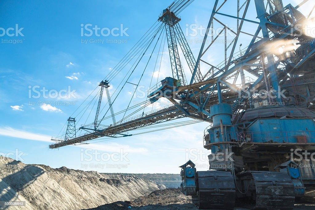 Mining machinery in the mine stock photo