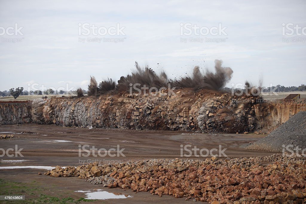 Mining Quarry Rock Wall Exploding stock photo