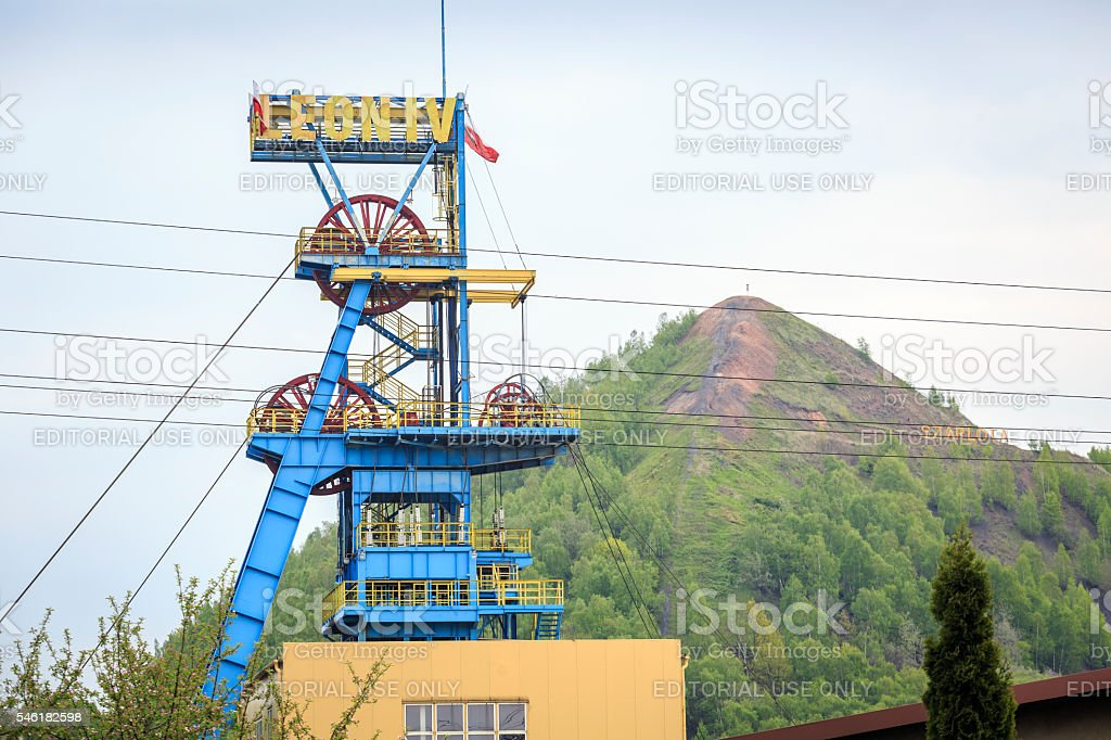Mining shaft. Coal has been excavated on Silesia for years. stock photo