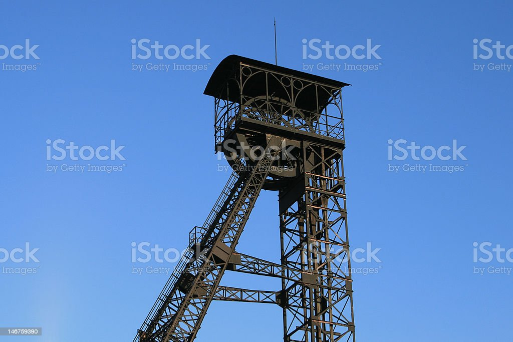 Mining tower on blue royalty-free stock photo