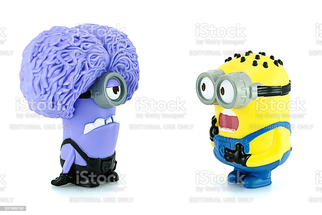 Minion Tom and Minion Purple characters  from Despicable Me anim stock photo