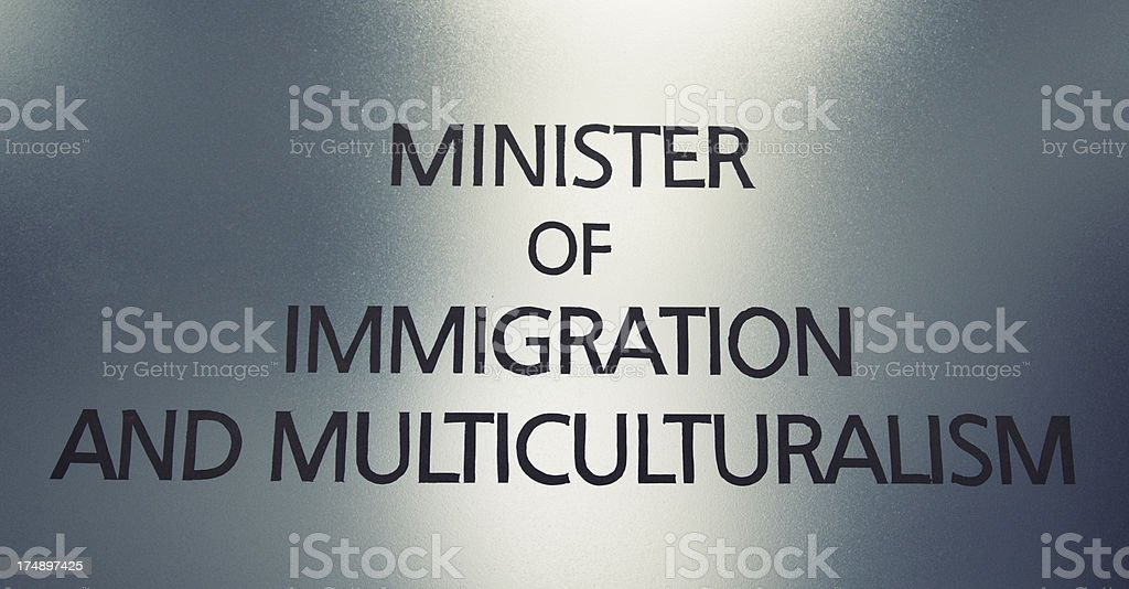 Minister of Immigration and Multiculturalism Sign stock photo