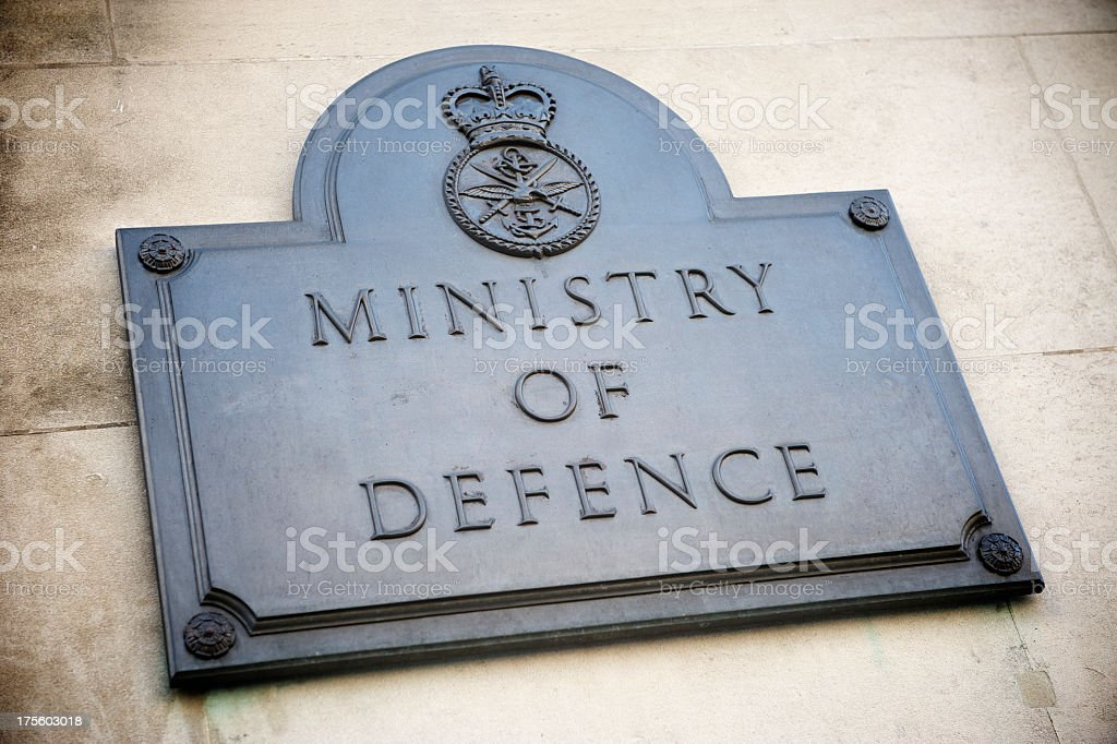 Ministry of Defence Plaque Sign London UK stock photo