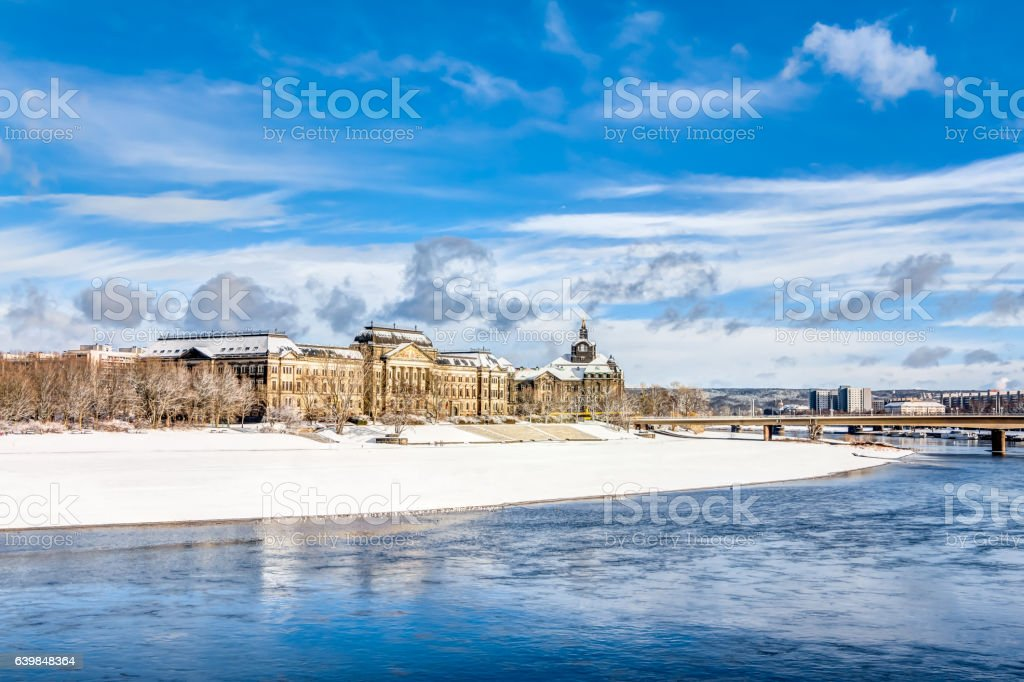Ministry of finance in Dresden in winter stock photo