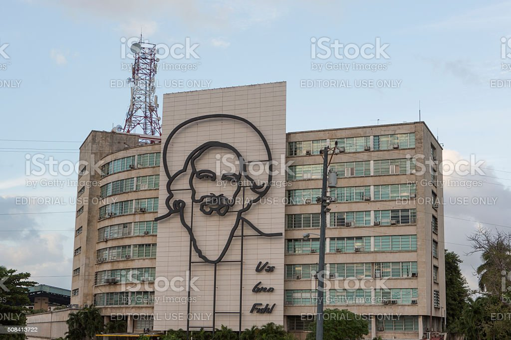 Ministry of Informatics and Communications building at havana cuba stock photo