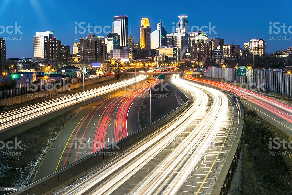 Minneapolis 35W, Skyline and Lightrails at Sunset stock photo