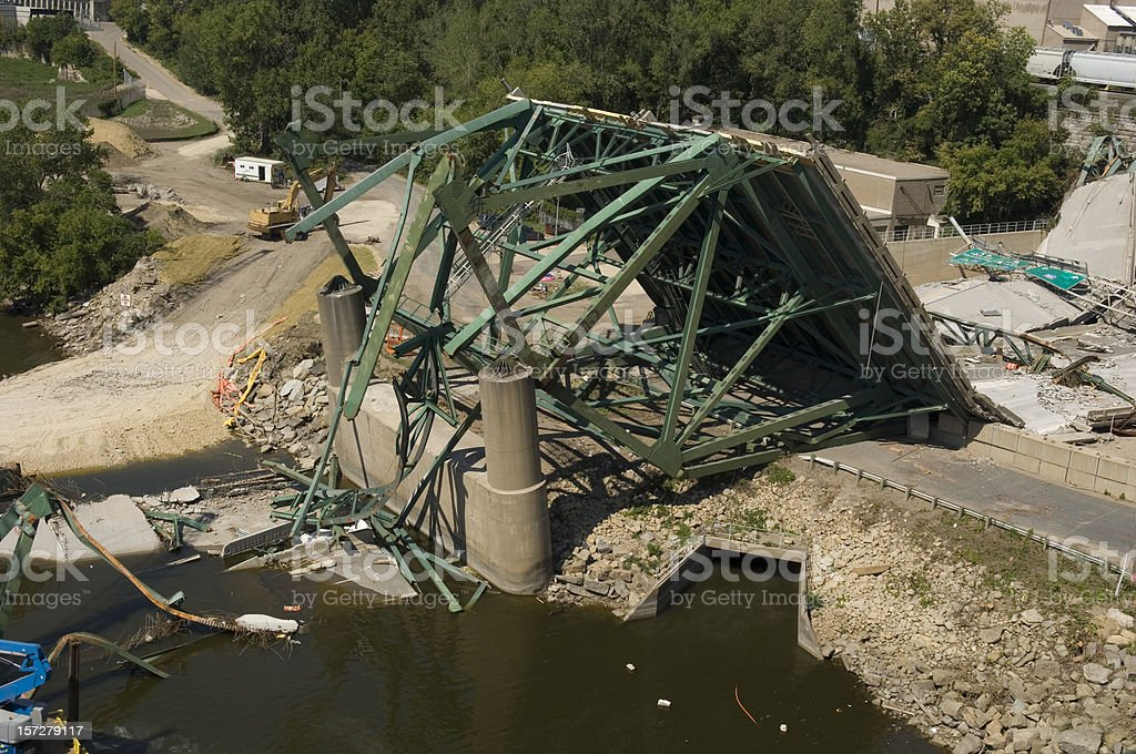 Minneapolis bridge collapse clean-up stock photo