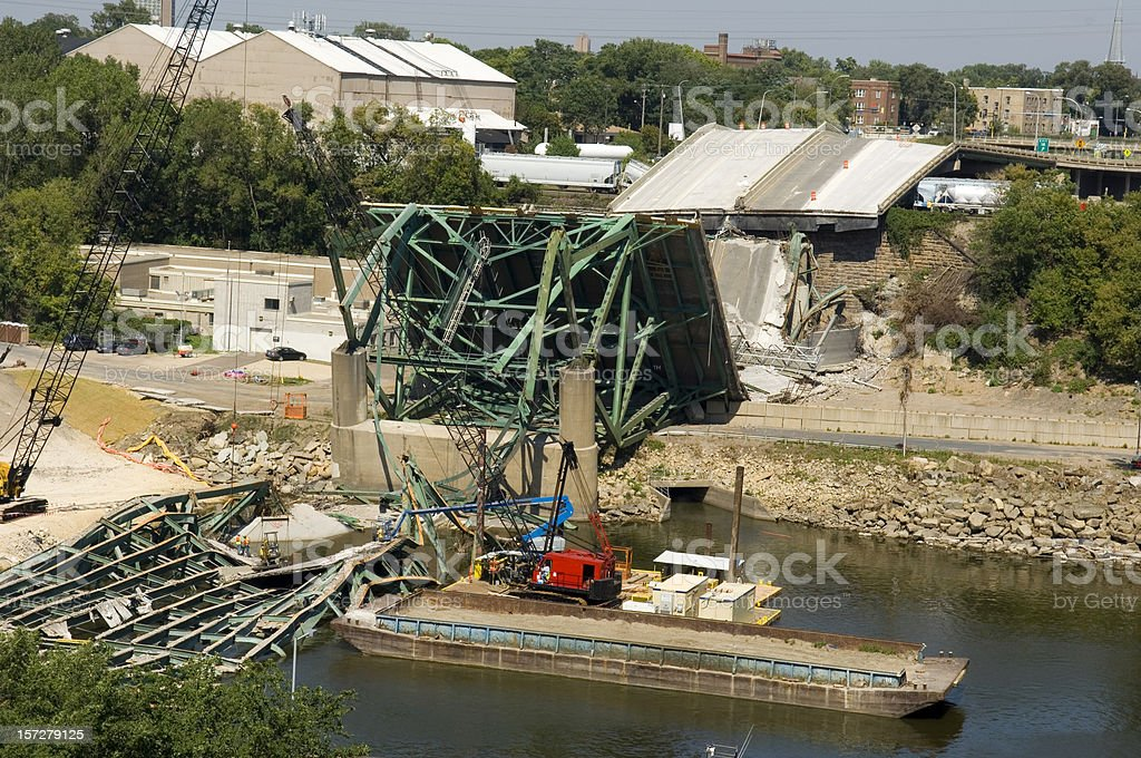 Minneapolis bridge collapse clean-up stock photo