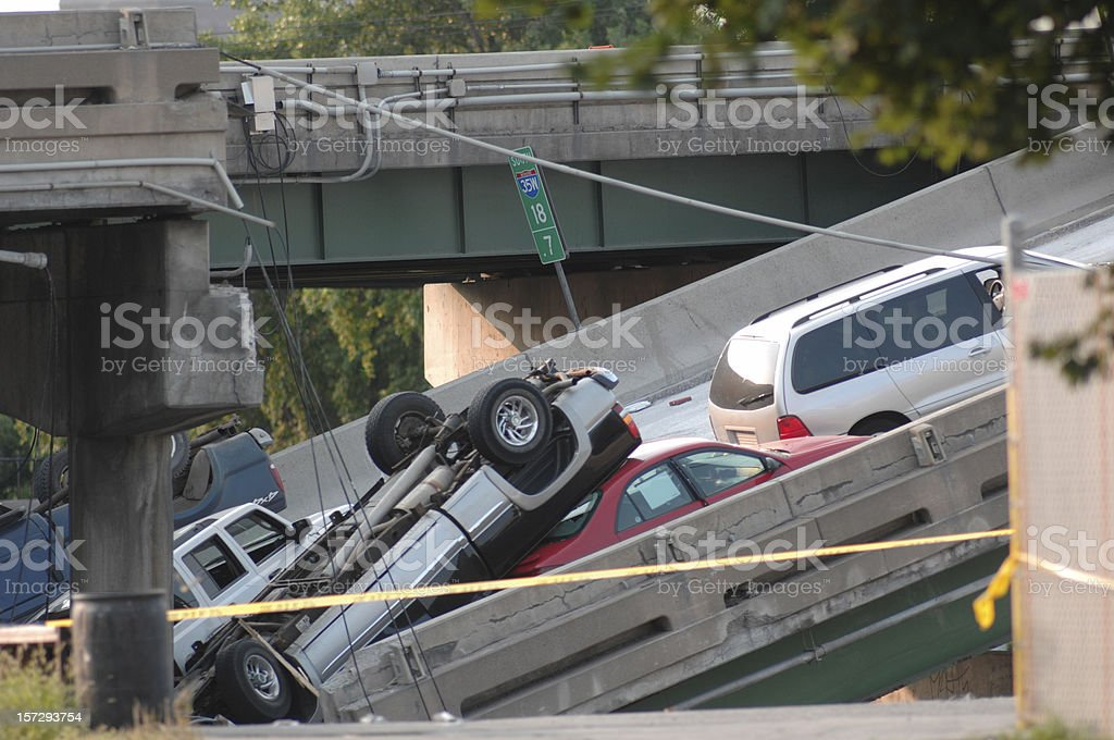 Minneapolis bridge collapse stock photo