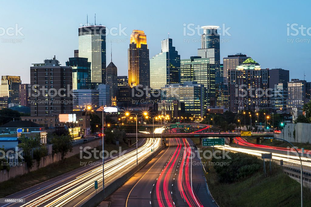 Minneapolis City Skyline and Traffic Light Tails stock photo
