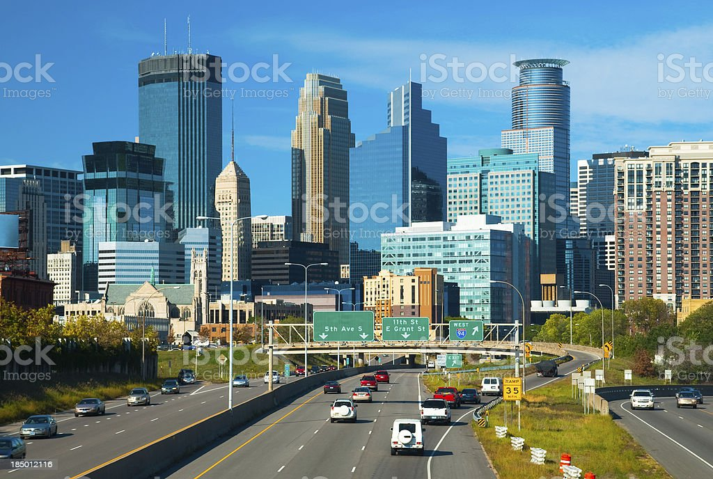 Minneapolis downtown and highway stock photo