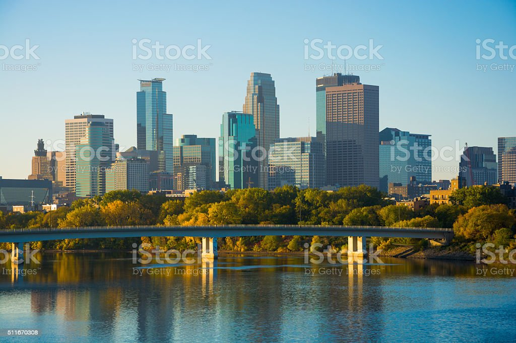 Minneapolis downtown and Mississippi River at early morning stock photo