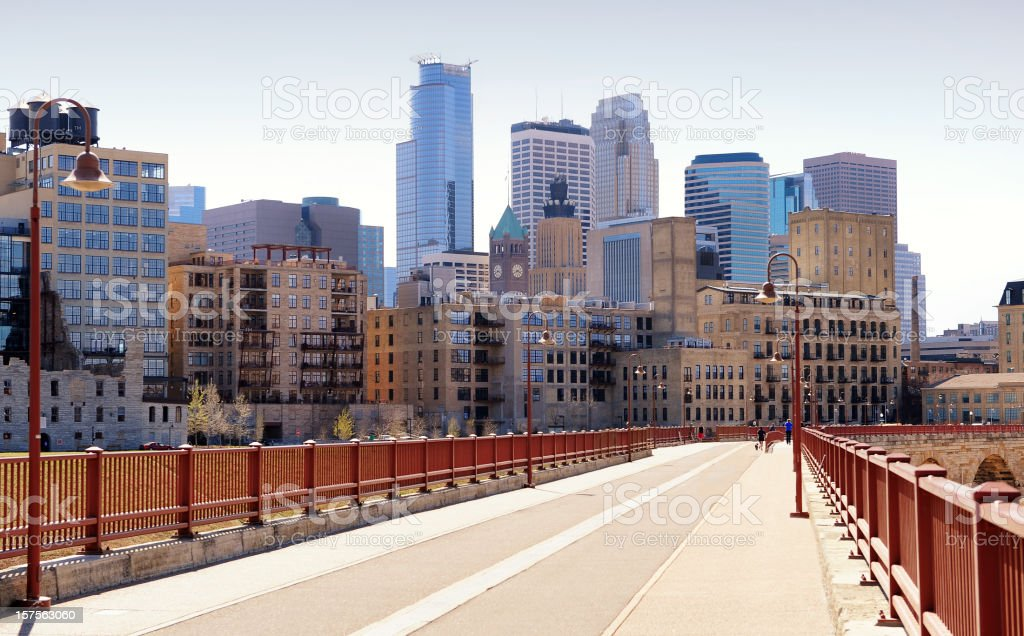 Minneapolis, Minnesota from Stone Arch Bridge royalty-free stock photo