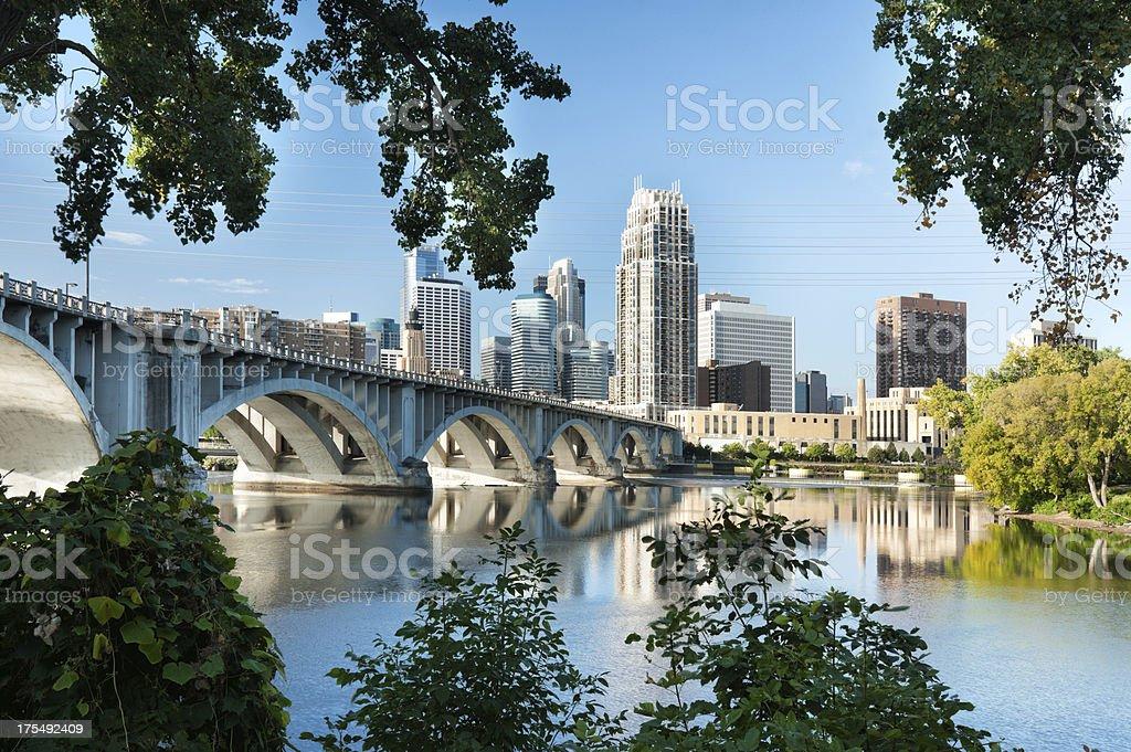 Minneapolis, Minnesota with 3rd Ave. bridge. stock photo