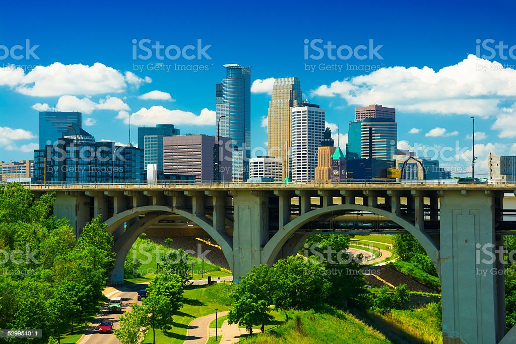 Minneapolis skyline and bridge stock photo