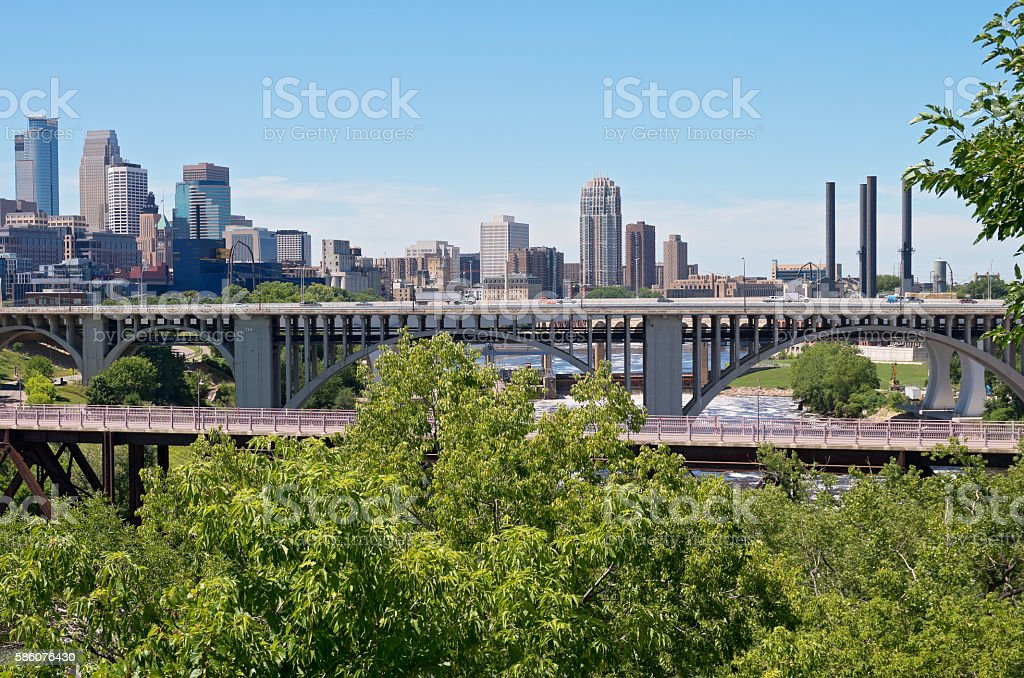 Minneapolis Skyline and Bridges stock photo