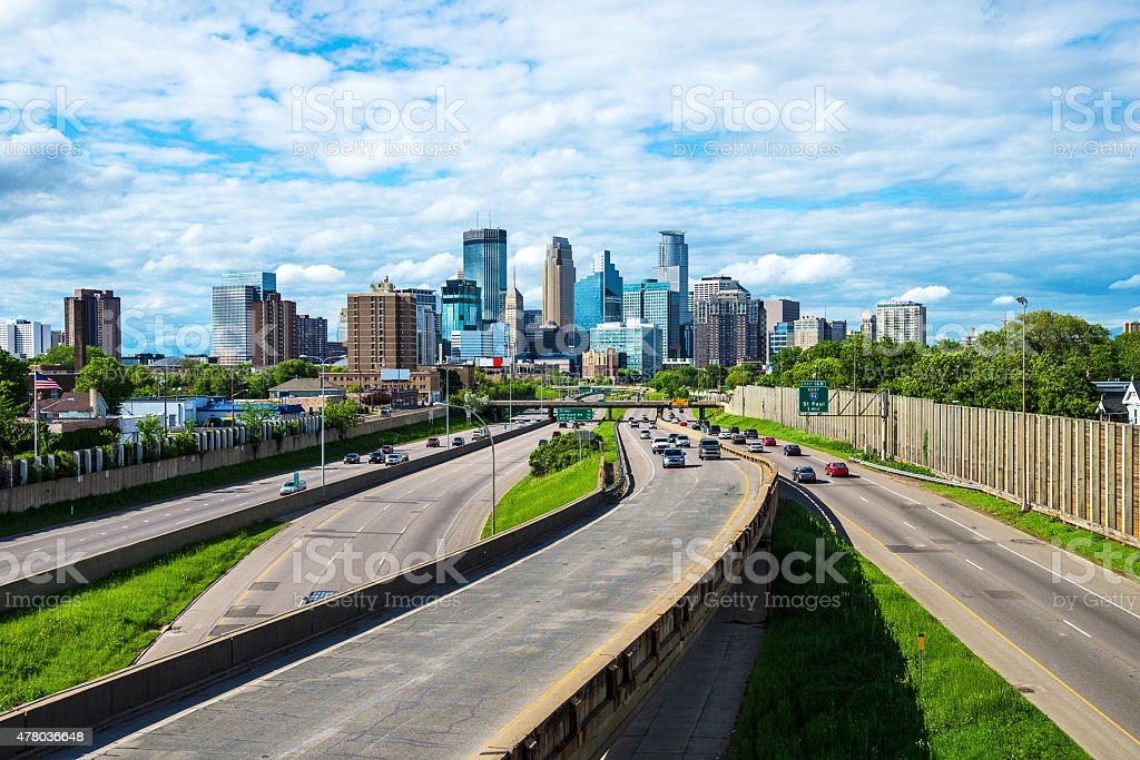Minneapolis Skyline and Freeway with Traffic from Overpass stock photo