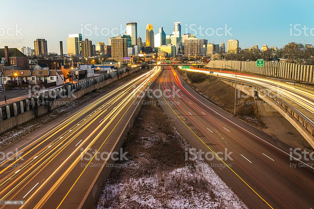 Minneapolis Skyline and Lightrail at Sunset stock photo