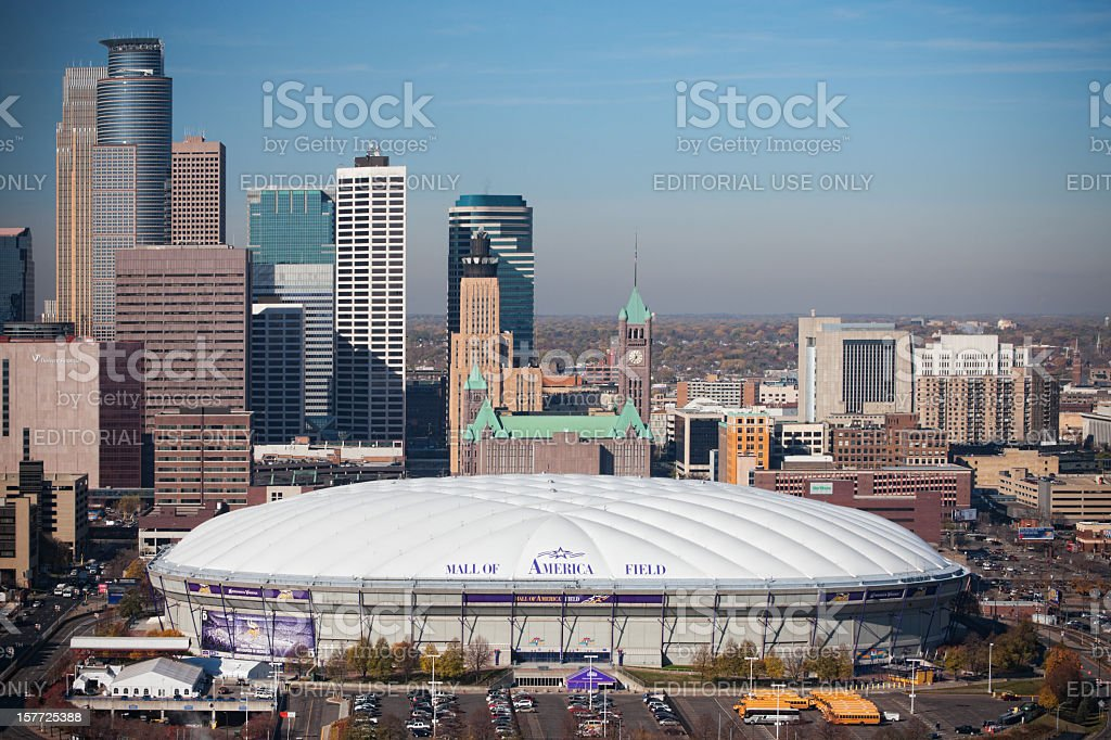 Minneapolis skyline and Mall of America field. royalty-free stock photo